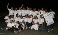 UPC ecoRacing al completo, celebrando el éxito