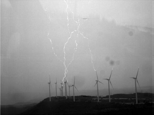 Rayos generados en el parque eólico del Rubió.