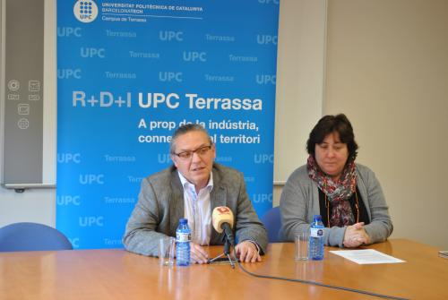 El rector Fossas y Diana Cayuela en un momento de la rueda de prensa