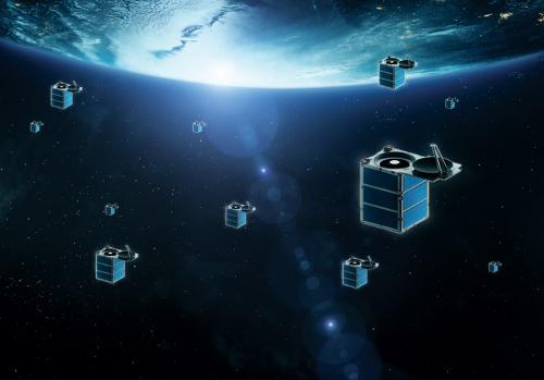 Skybox. Disseny artístic d'una constel.lació de micro-satèl.lits orbitant al voltant de la Terra